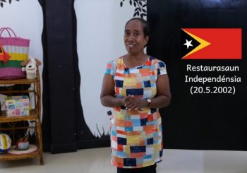 A Teacher from Timor-Leste Uses Distance Learning for Students to Learn from Home.